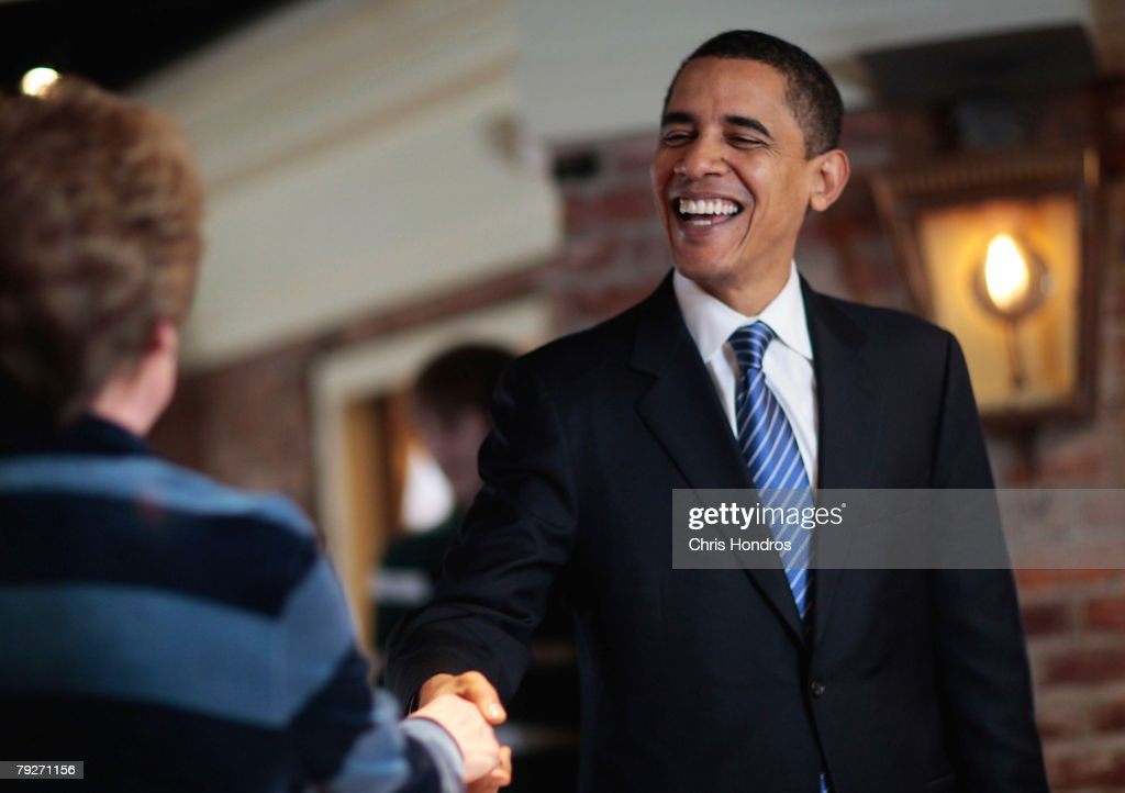 Presidential candidate U.S. Sen. Barack Obama (D-IL) greets diners in Harper's restaurant January 26, 2008 in Columbia, South Carolina. Voters go to the polls today for South Carolina's Democratic primary.