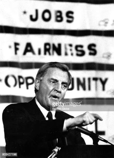 Presidential candidate Walter Mondale speaks during an AFLCIO rally at the Park Plaza hotel in Boston on Feb 4 1984