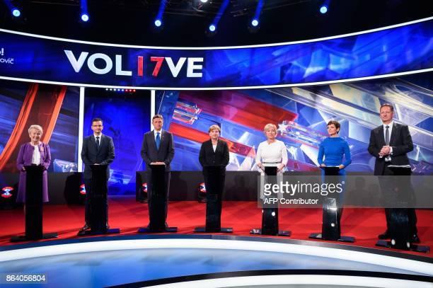 Presidential candidates Angelca Likovic Marjan Sarec Borut Pahor Ljudmila Novak Romana Tomc Maja Makovec Brencic and Boris Popovic attend attend the...