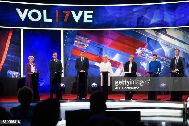 Presidential candidates Angelca Likovic Marjan Sarec Borut Pahor Ljudmila Novak Romana Tomc Maja Makovec Brencic and Boris Popovic attend the last TV...
