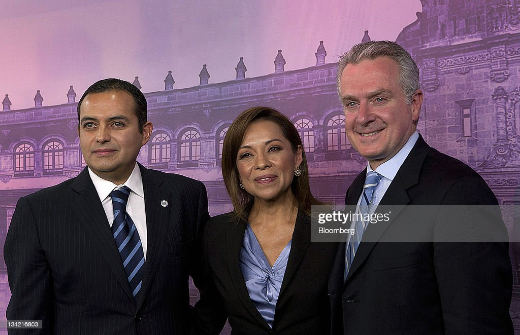 Presidential candidates Ernesto Codero from left Josefina Vazquez Mota and Santiago Creel Miranda stand for a photograph after the National Action...