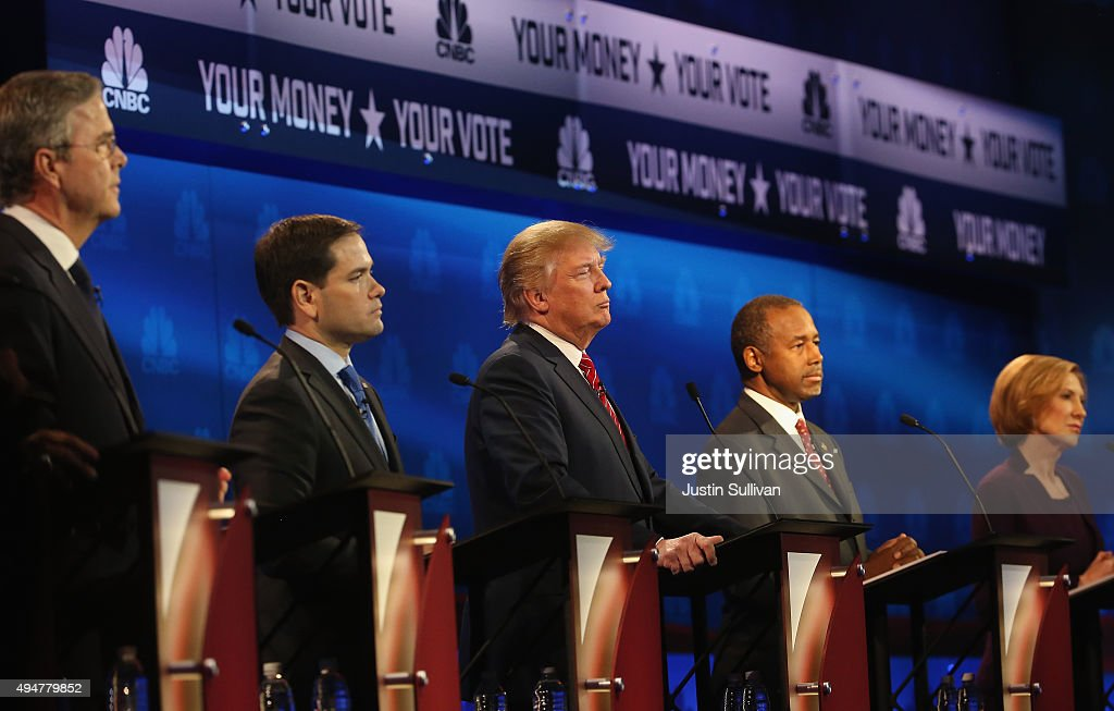 Presidential candidates Jeb Bush Marco Rubio Donald Trump Ben Carson and Carly Fiorina look on during the CNBC Republican Presidential Debate at...
