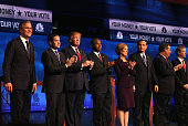 Presidential candidates Jeb Bush Sen Marco Rubio Donald Trump Ben Carson Carly Fiorina Ted Cruz New Jersey Governor Chris Christie and Sen Rand Paul...