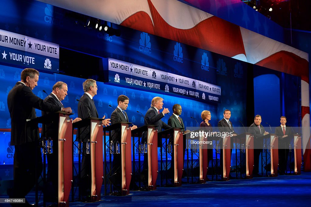 2016 presidential candidates John Kasich governor of Ohio from left Mike Huckabee former governor of Arkansas Jeb Bush former governor of Florida...