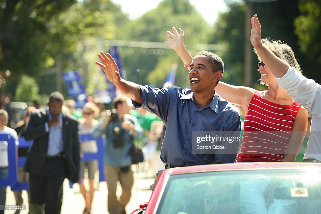 Presidential Candidates Mitt Romney Chris Dodd and Barak Obama brought up the rear of Milford NH's annual Labor Day parade