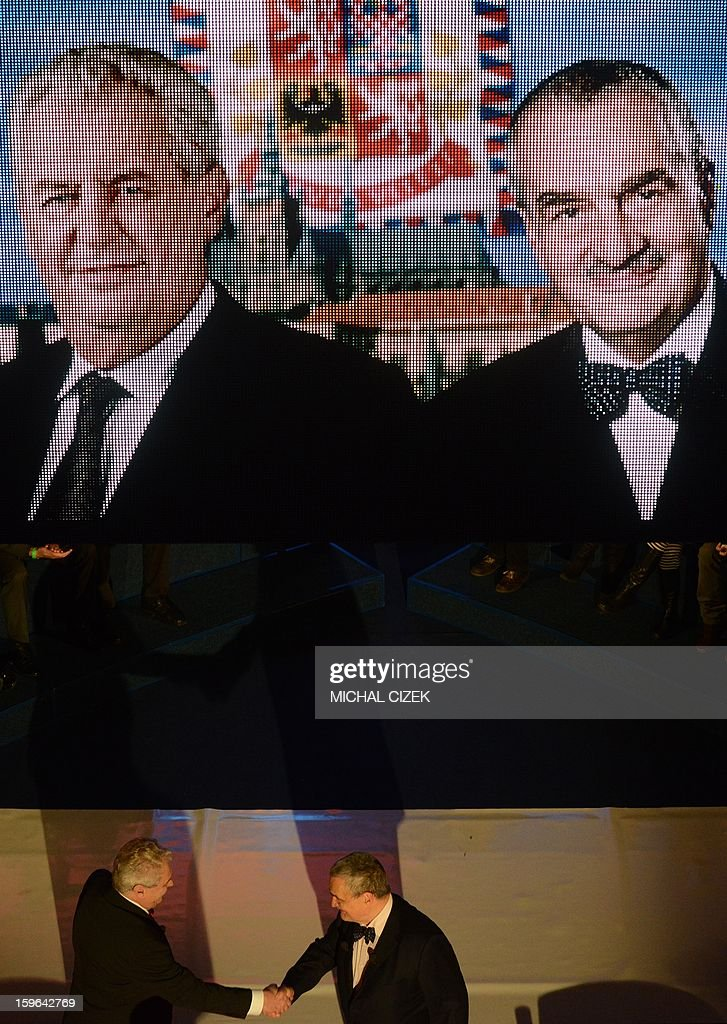 Presidential candidates of second round Milos Zeman (L) and Karel Schwarzenberg (R) attend a joint pre-election TV debate on January 17, 2013 in Prague, Czech. Second round of the first Czech direct presidential election will be held on January 25-26, 2013.