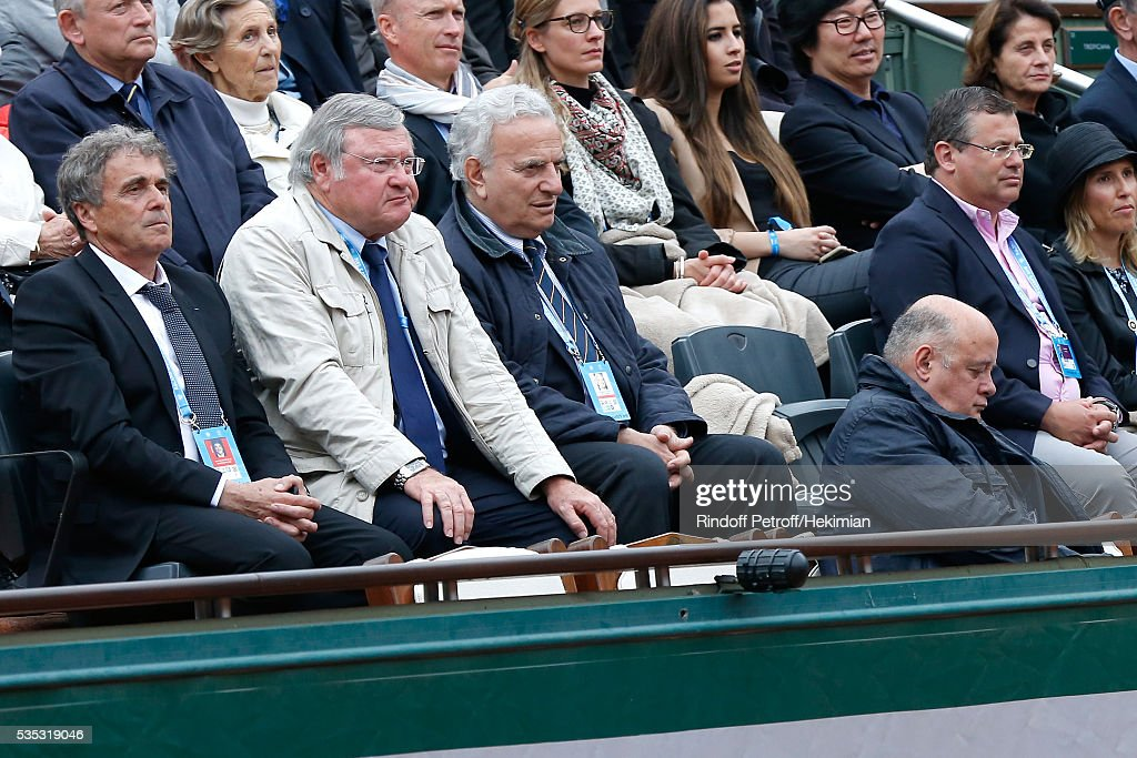 Presidential candidates of the French Tennis Federation : Vice President of French Tennis Federation and President of league of 'Franche Conte', Jean Pierre Dartevelle (L) and General secretary of French Tennis Federation and President of league of 'Corse', Bernard Giudicelli (R) attend Day Height of the 2016 French Tennis Open at Roland Garros on May 29, 2016 in Paris, France.