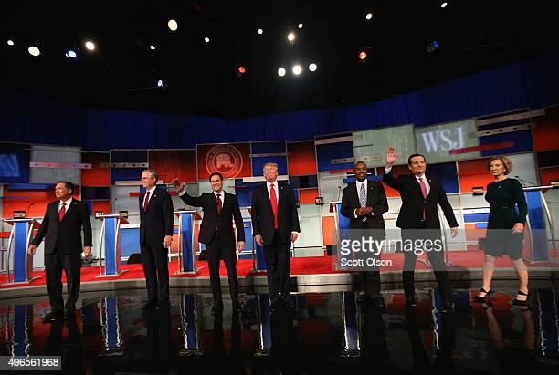Presidential candidates Ohio Governor John Kasich Jeb Bush Sen Marco Rubio Donald Trump Ben Carson Ted Cruz and Carly Fiorina take the stage in the...