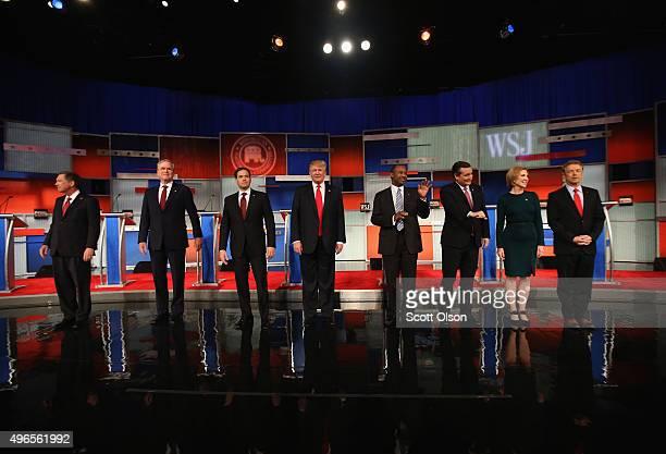 Presidential candidates Ohio Governor John Kasich Jeb Bush Sen Marco Rubio Donald Trump Ben Carson Ted Cruz Carly Fiorina and Sen Rand Paul take the...