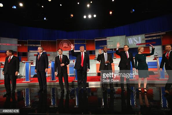 Presidential candidates Ohio Governor John Kasich Jeb Bush Sen Marco Rubio Donald Trump Ben Carson Ted Cruz Carly Fiorina and Sen Rand Paul take the...