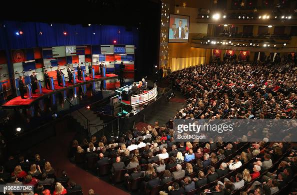 Presidential candidates Ohio Governor John Kasich Jeb Bush Sen Marco Rubio Donald Trump Ben Carson Ted Cruz Carly Fiorina and Sen Rand Paul take part...