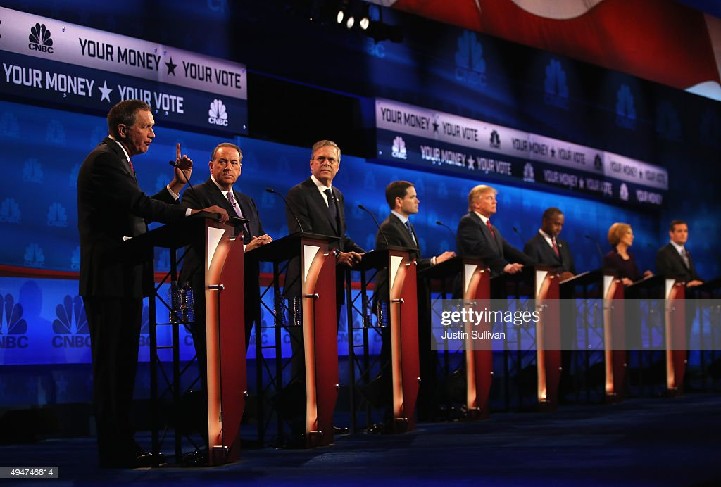Presidential candidates Ohio Governor John Kasich Mike Huckabee Jeb Bush Sen Marco Rubio Donald Trump Ben Carson Carly Fiorina Ted Cruz take part in...