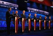 Presidential candidates Ohio Governor John Kasich Mike Huckabee Jeb Bush Sen Marco Rubio Donald Trump Ben Carson Carly Fiorina Ted Cruz take part in...