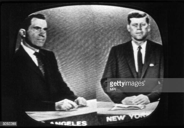 Presidential candidates Richard Nixon later the 37th President of the United States and John F Kennedy the 35th President during a televised debate