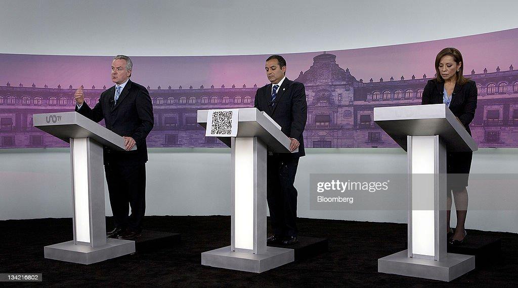 Presidential candidates Santiago Creel Miranda from left Ernesto Codero and Josefina Vazquez Mota participate in the National Action Party debate in...