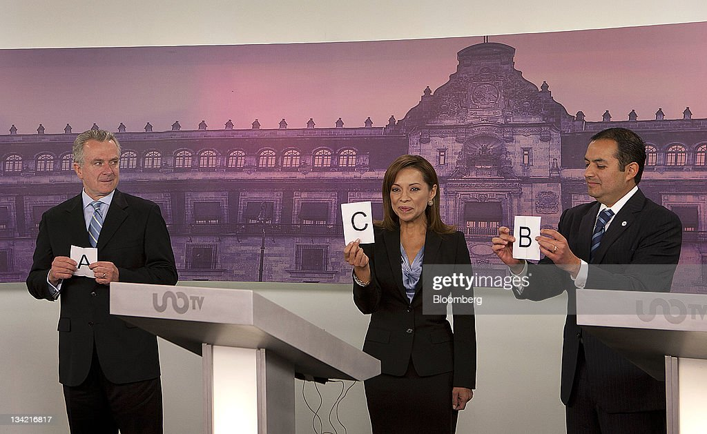 Presidential candidates Santiago Creel Miranda from left Josefina Vazquez Mota and Ernesto Codero participate in the National Action Party debate in...