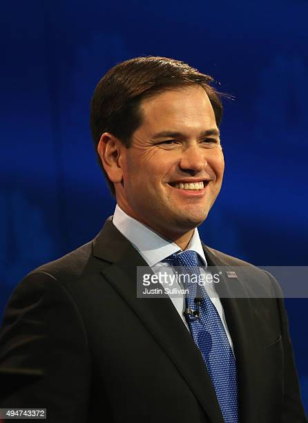 Presidential candidates Sen Marco Rubio smiles during the CNBC Republican Presidential Debate at University of Colorados Coors Events Center October...