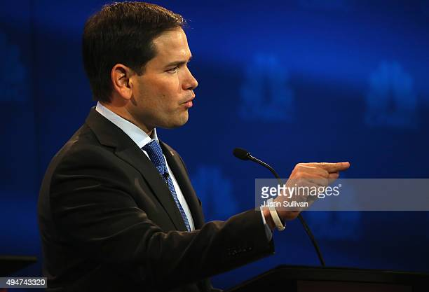 Presidential candidates Sen Marco Rubio speaks during the CNBC Republican Presidential Debate at University of Colorados Coors Events Center October...