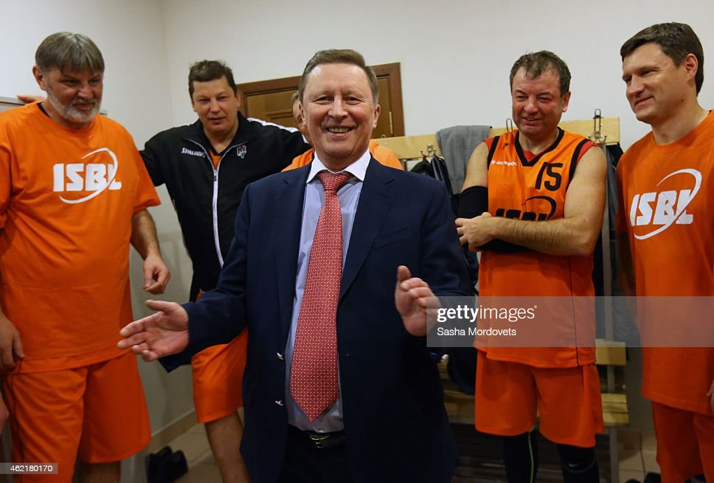 Presidential Chief of Staff Sergei Ivanov speaks with members of a student basketball team during a match at Moscow State University on January 25...