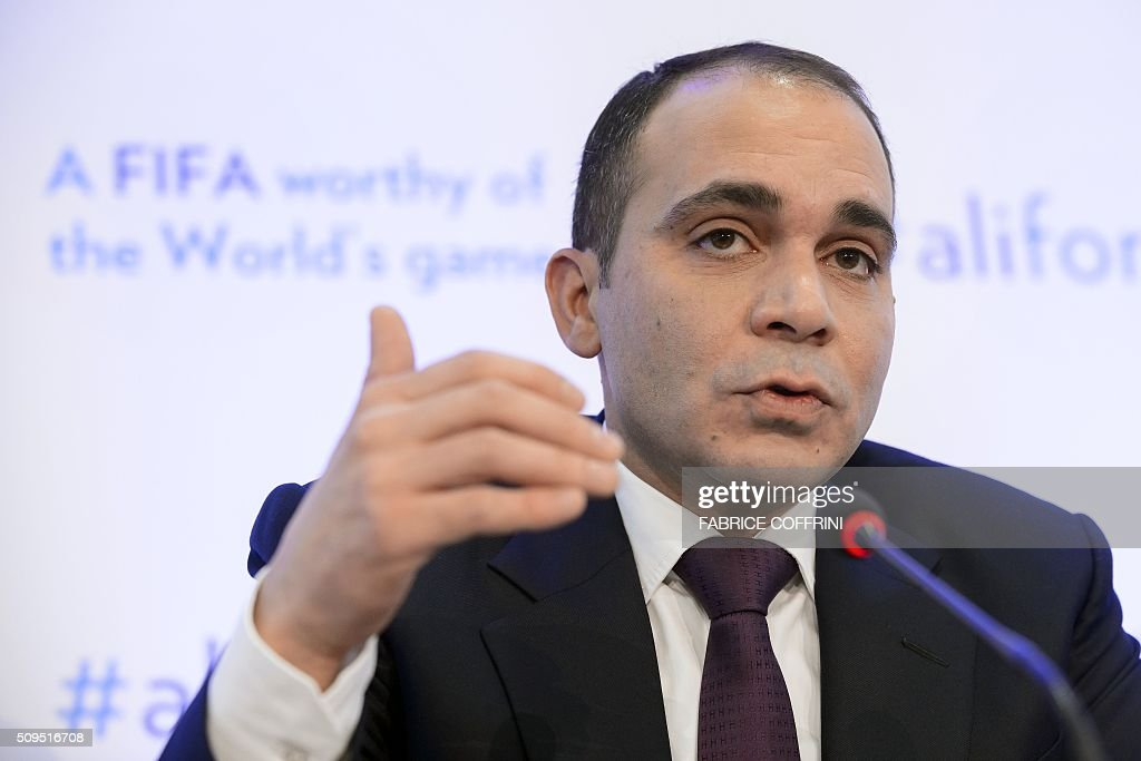 FIFA presidential contender Prince Ali bin al Hussein gestures during a press conference on February 11, 2016 at the Geneva press club. The FIFA presidential election, when a successor to the disgraced Sepp Blatter will be voted in as the head of world football's governing body, will take place in Zurich on February 26. / AFP / FABRICE COFFRINI