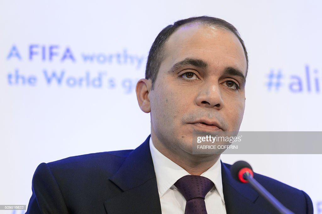 FIFA presidential contender Prince Ali bin al Hussein gestures during a press conference on February 11 2016 at the Geneva press club The FIFA...