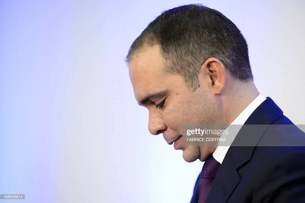 FIFA presidential contender Prince Ali bin al Hussein looks on during a press conference on February 11, 2016 at the Geneva press club. The FIFA presidential election, when a successor to the disgraced Sepp Blatter will be voted in as the head of world football's governing body, will take place in Zurich on February 26. / AFP / FABRICE COFFRINI