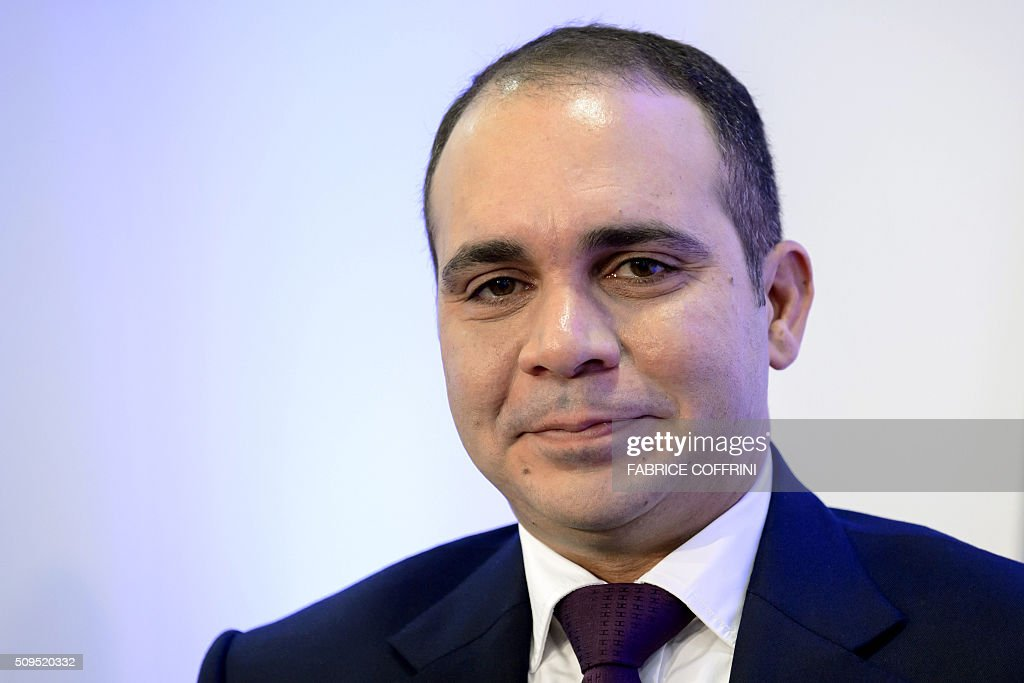 FIFA presidential contender Prince Ali bin al Hussein poses during a press conference on February 11, 2016 at the Geneva press club. The FIFA presidential election, when a successor to the disgraced Sepp Blatter will be voted in as the head of world football's governing body, will take place in Zurich on February 26. / AFP / FABRICE COFFRINI