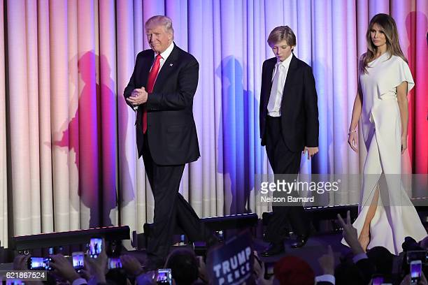 Presidential elect Donald J Trump and his family walk on stage at his election night event at The New York Hilton Midtown on November 8 2016 in New...
