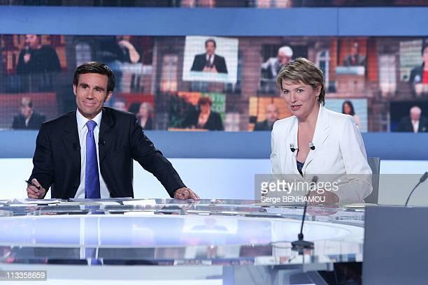'2007 Presidential Election' On France2 Et France3 In Paris France On April 22 2007 David Pujadas and Elise Lucet