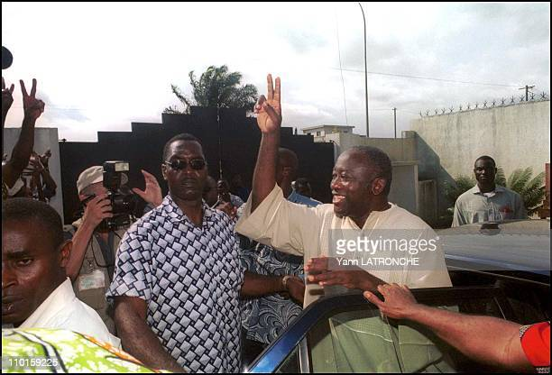 presidential elections Bagboy or Guei in Abidjan Cote d'Ivoire on October 24 2000 Laurent Bagboy arrives at IPF HQ