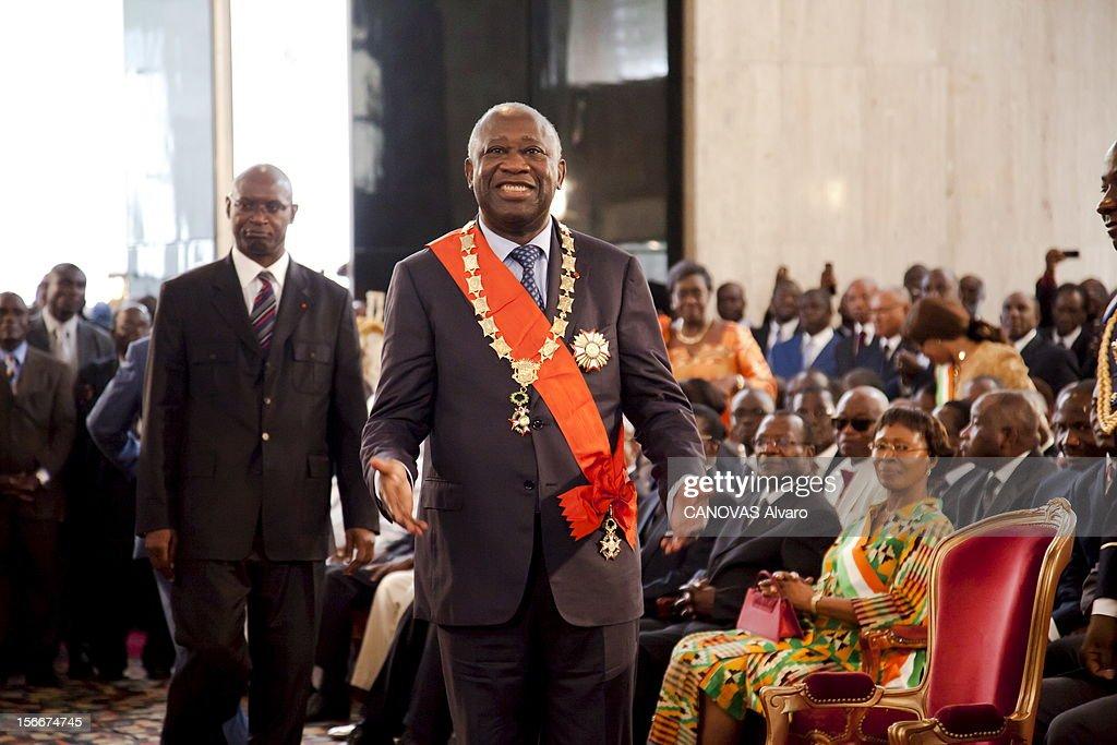 Two Presidents For The Ivory Coast. Laurent GBAGBO et Alassane OUATTARA revendiquent la victoire aux élections présidentielles de Côte d'Ivoire et leurs partisans s'observent. Samedi 4 décembre, chaque rival a organisé sa propre cérémonie d'investiture : plan de face souriant du président sortant, Laurent GBAGBO 65 ans, dans le palais présidentiel.