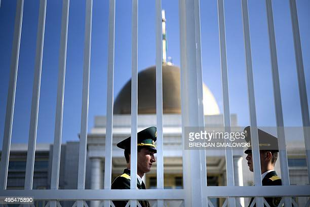 Presidential Guard are seen outside during a meeting between US Secretary of State John Kerry and Turkmen President Gurbanguly Berdimuhamedov at the...