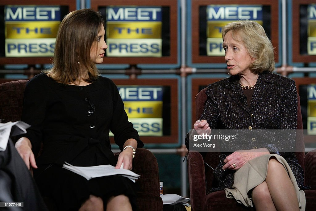 Presidential historian Doris Kearns Goodwin (R) speaks as MTP Executive Producer Betsy Fischer (L) looks on during a taping of 'Meet the Press' in memory of the late moderator Tim Russert June 15, 2008 at the NBC studios in Washington, DC. Russert died June 13, 2008 of a heart attack while at the NBC bureau in Washington at the age of 58.