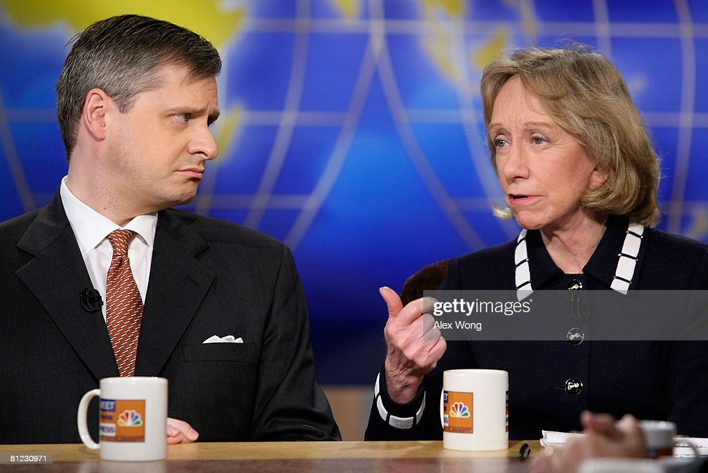Presidential historian Doris Kearns Goodwin (R) speaks as Newsweek Editor Jon Meacham (L) looks on during a taping of 'Meet the Press' at the NBC studios May 25, 2008 in Washington, DC. The guests discussed topics related to the presidential election in November, 2008.