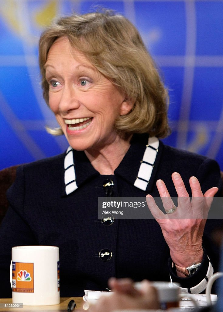 Presidential historian Doris Kearns Goodwin speaks during a taping of 'Meet the Press' at the NBC studios May 25, 2008 in Washington, DC. Goodwin discussed topics related to the presidential election in November, 2008.