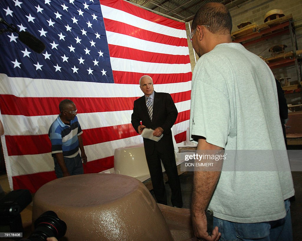 US Presidential hopeful Arizona Senator John McCain gets a tour of Baker Manufacturing Company 23 January, 2008 during a campaign stop In Orlando, Florida. Florida's prsidential primary is to be held 29 January.