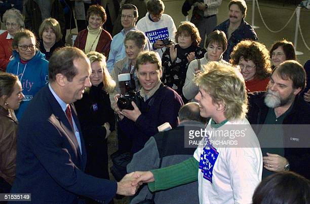Presidential hopeful former US Senator Bill Bradley greets supporters after being endorsed by former Watergate Special Prosecutor Archibald Cox 18...