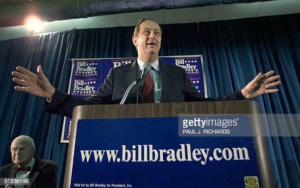 Presidential hopeful former US Senator Bill Bradley speaks to supporters after being endorsed by former Watergate Special Prosecutor Archibald Cox 18...