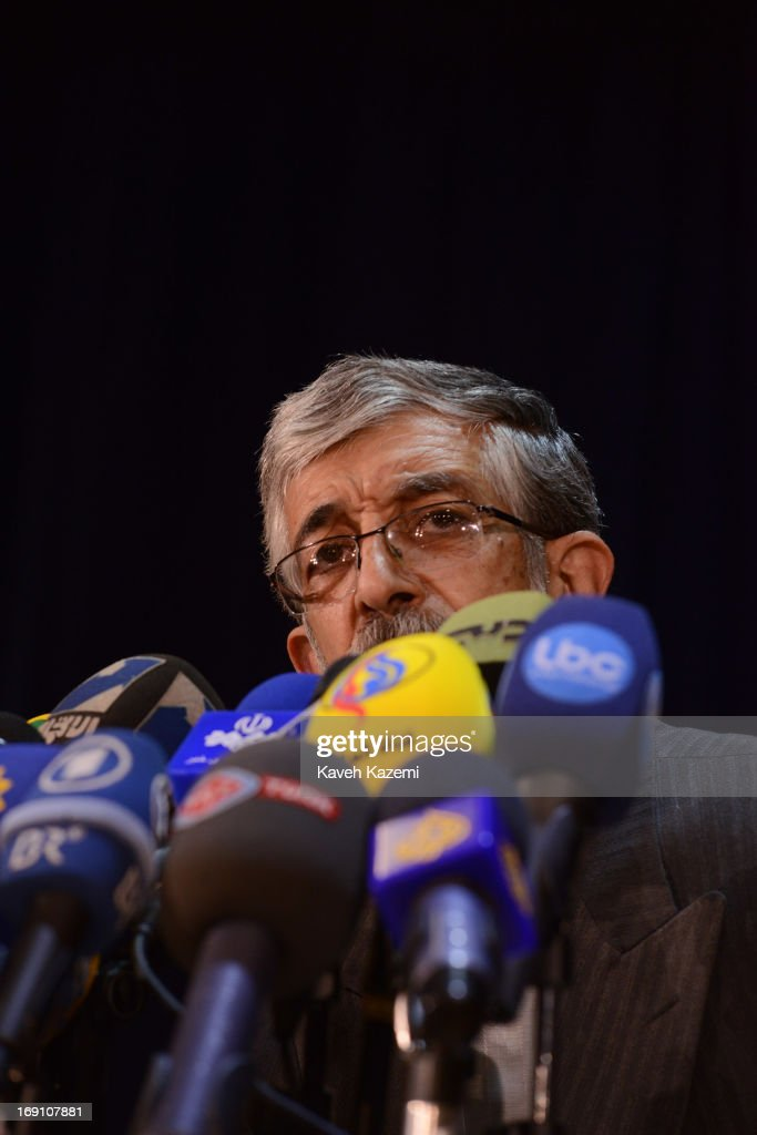 Presidential hopeful from the Coalition 2+1 Gholam-Ali Haddad-Adel holds a press conference after registering his name as a candidate in the Ministry of Interior on May 10, 2013 in Tehran, Iran. Next presidential election in Iran is due in June 2013.