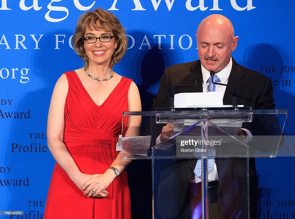 JFK Presidential Library - Former Arizona Congresswoman and co-founder of Americans for Responsible Solutions Gabrielle Giffords was honored by Caroline Kennedy, President of the Kennedy Library Foundation, with the 2013 John F. Kennedy Profile in Courage Award on May 5, 2013 at the JFK Presidential Library. Giffords was accompanied by her husband, Captain Mark Kelly (US Navy - Ret.), co-founder of Americans for Responsible Solutions. The JFK Profile in Courage Award is presented annually to public servants who have made courageous decisions of conscience without regard for the personal or professional consequences.