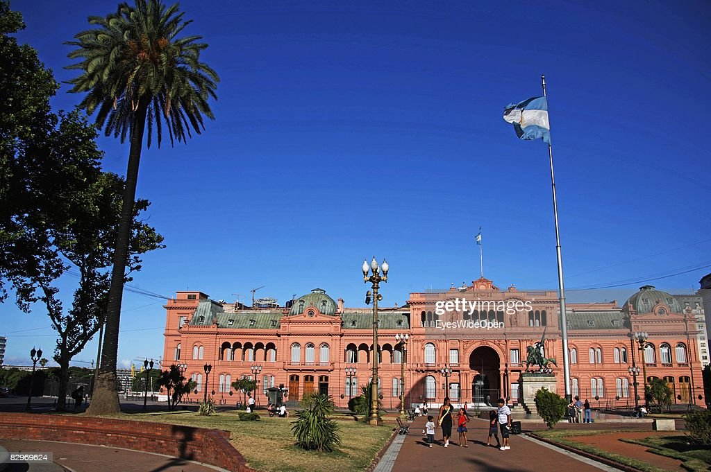 Presidential Palace the Casa Rosada at Plaza de Mayo on January 13 2008 in Buenos Aires Argentina The Republic of Argentina is a former spanish...