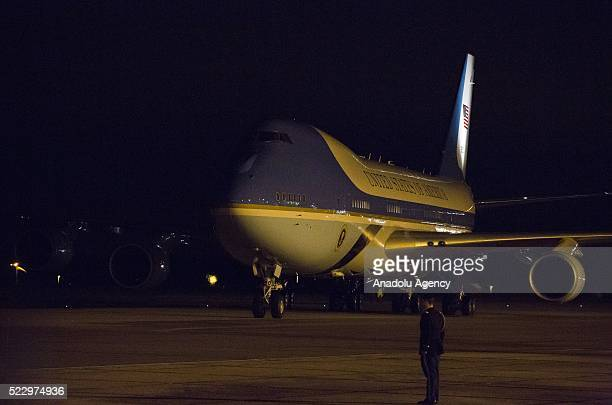 US presidential plane Air Force One carrying US President Barack Obama is seen at the apron as it landed at Stansted Airport during his official...