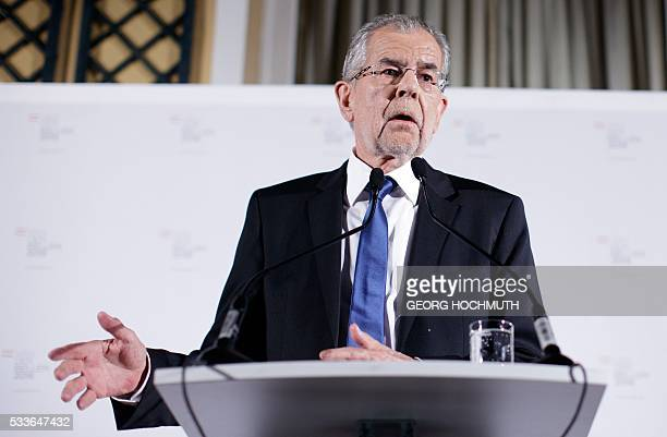 Presidentianl candidate backed by the Greens Alexander Van der Bellen speaks during during an election party after the second round of the Austrian...