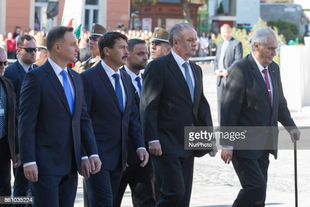 Andrzej Duda of Poland Janos Ader of Hungary Andrej Kiska of Slovakia and Milos Zeman of the Czech Republic arrive for the meeting of heads of state...