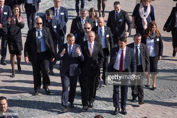 Andrzej Duda of Poland Milos Zeman of the Czech Republic Andrej Kiska of Slovakia and Janos Ader of Hungary during their meeting of heads of state of...