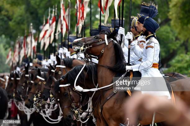 President's bodyguards on horse during the swearingin ceremony of President Ram Nath Kovind at Parliament on July 25 2017 in New Delhi India Ram Nath...