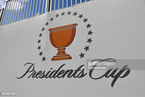 Presidents Cup banner during Day 3 practice of the Presidents Cup on September 27 at Liberty National Golf Club in Jersey City NJ