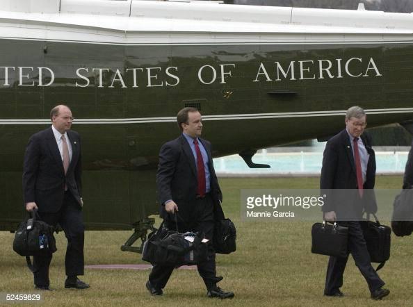 S President's George W Bush advisors White House Deputy Chief of Staff Joe Hagen White Spokesman Scott McClellan and National Security Advisor...