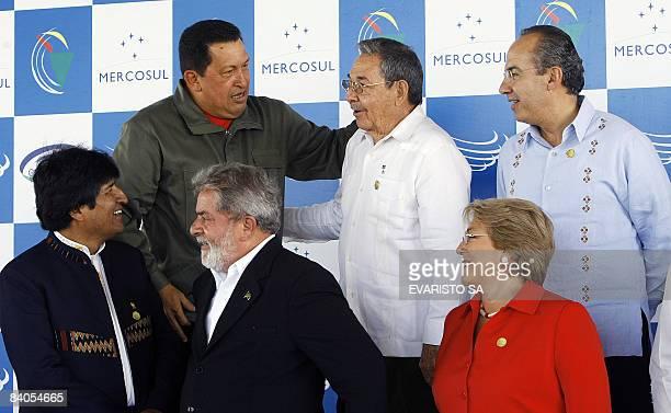 Presidents Hugo Chavez of Venezuela Raul Castro of Cuba Felipe Calderon of Mexico Evo Morales of Bolivia Luiz Inacio Lula da Silva of Brazil and...