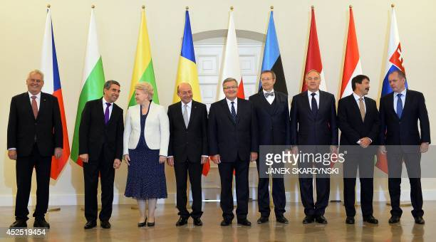 Presidents Milosz Zeman of Czech Rosen Plewnelijew of Bulgaria Dalia Grybauskaite of Lithuania Traian Basescu of Romania Bronislaw Komorowski of...